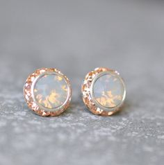 Opal Earrings Swarovski Crystal Gray Opal Peach Rhinestone Stud Sugar Sparklers - 11 Main