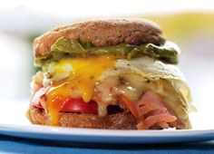 One of our favorite morning meals: a breakfast sandwich with turkey, cheddar, and guacamole