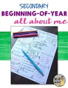 Back to School Ice Breaker All About Me Activity for the Secondary Classroom This activity is great for the first day of school. It can be done in one class period and incorporates a get-to-know-you activity that allows students to share about themselves.