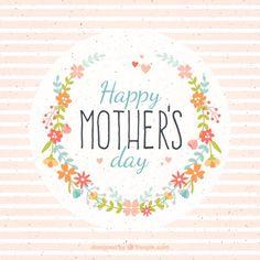花と縞模様の母の日カード 無料ベクター