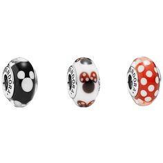 Pre-owned Disney Pandora Minnie Mouse Murano Beads (320 BRL) ❤ liked on Polyvore featuring accessories, none, beading charms, bead charms, preowned jewelry, charm jewelry and pandora jewelry
