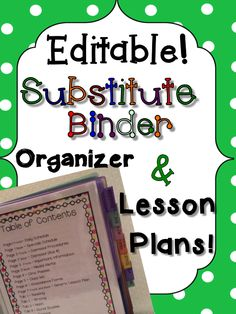 This Substitute binder has everything from general lesson plans, classroom information, dismissal procedures, medical needs, attendance cards, specials schedules, and much more. You also get Reading and Writing lesson plans WITH HANDOUTS that can be used all year long. FULLY EDITABLE! Click to see a preview!
