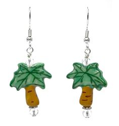 Hand Painted Ceramic Coconut Palm Tree Earrings
