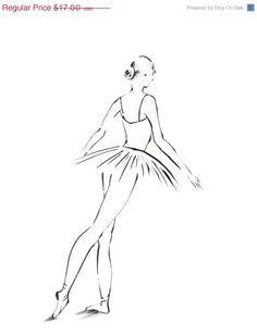 Holiday Sale Ballerina Art Print 8x10 from Original Drawing Minimalist Ballet Dance Modern Art #etsy #gifts
