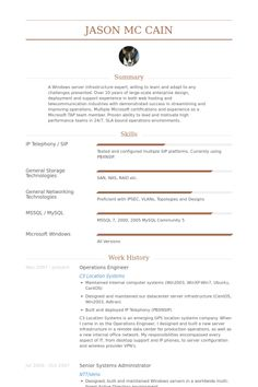 operations engineer resume example