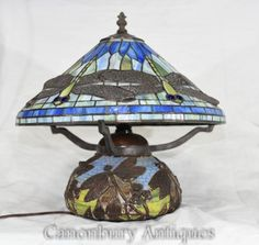 Art Nouveau Tiffany Table Lamp - Dragonfly Shade Silver Lanterns, Tiffany Style Table Lamps, Antique Table Lamps, Marble Lamp, Wood Floor Lamp, Glass Wall Lights, Floor Standing Lamps, Art Deco Glass, Sconce Lighting