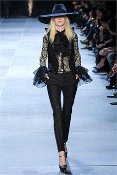 Saint Laurent - fashion, black, lace, ruffles, evening pants, pussy bow, blouse, wide brim hat,