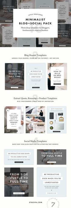Minimalist Blog + Social Pack by StationSeven on @creativemarket