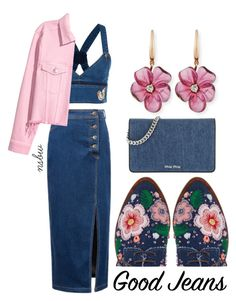 """""""Denim Look"""" by nsbw ❤ liked on Polyvore featuring Anouki, WithChic, Valentino, Rina Limor, Miu Miu and alldenim"""