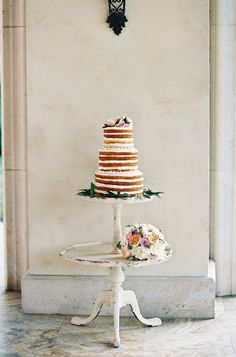 Naked wedding cake - love the stand!