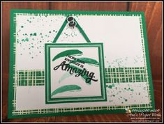 Painter's Palette in Emerald Envy, In-Color from new Stampin' Up! Annual Catalogue and Playful Palette DSP Stack and Layering Squares Framelits. Stampin Up Catalog, One Color, Colour, Man Birthday, My Stamp, Stampin Up Cards, Cardmaking, Palette, Paper Crafts