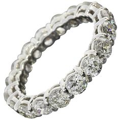 2.90 Carats Round Diamonds Gold Eternity Wedding Band Ring ($5,990) ❤ liked on Polyvore featuring jewelry, rings, 18k gold ring, gold stacking rings, gold band ring, stackable diamond rings and wedding band rings