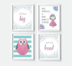 Girly Purple and Turquoise Nursery Decor - Owl Princess Confetti Print Bundle  - instant download by VigiCreativeStudio on Etsy
