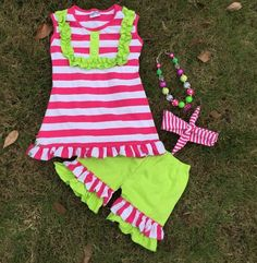 """WATERMELON STRIPE SET  Price $29.99, Free Shipping Options: 2T, 3T, 4T, 5, 6, 7 To purchase, comment """"Sold"""", size & EmaiL"""