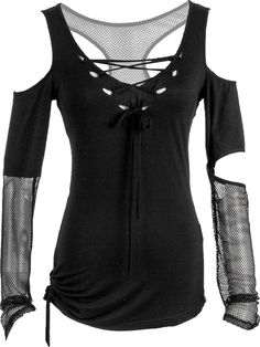 A lovely and unique women's top by goth clothes designers Punk Rave, featuring cut-out net sleeves and a semi-transparent skull on the back.