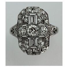 Art Deco Platinum Old European Cut Diamond Engagement Ring Circa Early 1900's #weddings
