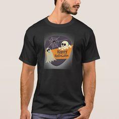 Happy Halloween Ghosts and Crossbones T-Shirt #halloween #holiday #creepyclothing #fashion #mensclothing