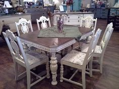 1930's Jacobean Dining Table & Chairs refinished in distressed chaulk paint.