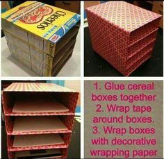 Awesome ways to recycle cereal boxes . Turn your cereal boxes into a decorative yet functional file sorter for your desk! Awesome ways to recycle cereal boxes . Turn your cereal boxes into a decorative yet functional file sorter for your desk! Organisation Hacks, Organizing Hacks, Small Space Organization, Craft Organization, Organizing Papers, Dollar Store Organization, Bedroom Storage Ideas For Small Spaces, Kids Craft Storage, Small Bedroom Hacks