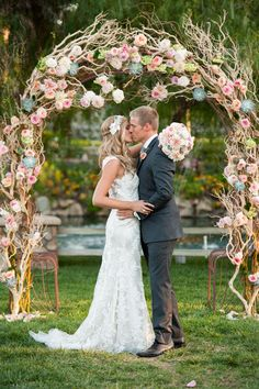 Wedding arch with florals and succulents. Cheap Wedding Decorations, Wedding Centerpieces, Floral Wedding, Wedding Flowers, Wedding Dresses, Manzanita Wedding, Manzanita Branches, Dream Wedding, Wedding Day