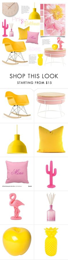 """""""Pink and Yellow Decor"""" by alexandrazeres ❤ liked on Polyvore featuring interior, interiors, interior design, home, home decor, interior decorating, Muuto, Sunnylife, LAFCO and Bitossi"""