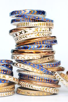 Hand-sculpted bangles stack up quite nicely