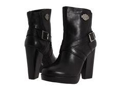 Harley-Davidson Sandee Buckle Ankle Boots, Black Ankle Booties, Short Black Boots, Harley Davidson, Biker, High Heels, Polyvore, Shoes, Fashion