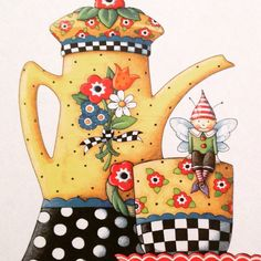 illustratie by Mary Engelbreit Mary Engelbreit, Illustrations, Illustration Art, Decoupage, Creation Photo, Teapots And Cups, Teacups, Pintura Country, Tea Art
