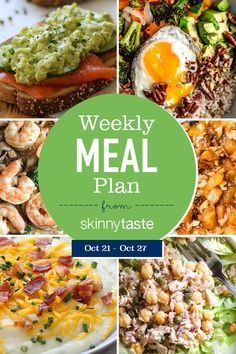 A free flexible weight loss meal plan including breakfast, lunch and dinner and a shopping list. All recipes include calories and Weight Watchers SmartPoints®. Planning Budget, Meal Planning, Clean Eating, Healthy Eating, Diet Meal Plans, Meal Prep, Diet Recipes, Healthy Recipes, Healthy Foods