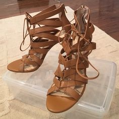 BANANA REPUBLIC Lace-Up High Heel Sandal. NWOT. Lace up high heel sandal with zip back in tan.  Never been worn, do not have the box. Banana Republic Shoes Sandals