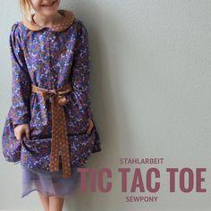 TicTacToe Dress, Sewpony, Stahlarbeit, Cotton+Steel, Stoff, Schnittmuster, Nähen für Kinder