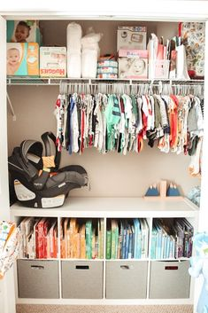 Inspiration for organizing a baby nursery and closet. How to organize books, clothes, gear, diapers, and more! Baby Nursery Closet, Baby Boy Rooms, Girl Nursery, Room Baby, Baby Room For Boys, Nursery Room, Baby Closets, Baby Girl Closet, Boys Closet
