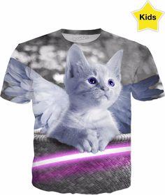 Cute Kitty with Angels Wings Kids T-Shirt #erikakaisersot #RageOn #tshirt #cats