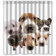 Amazon Long Shower Curtain Dog Lover Decor By Ambesonne Breeds Profiles Pets Shepherd Terrier Labrador Domestic Animals Illustration Fab