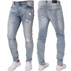 Mens Stretch Jeans Straight Leg Regular Fit Basic Enzo Denim Pants Sizes 28-50/'/'