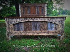 Reclaimed barn wood bed by Vintage Southern Creations Home Decor Furniture, Pallet Furniture, Pallet Beds, Diy Bed Frame, Bed Frames, Rough Cut Lumber, Rustic Farmhouse Furniture, Pallet Building, Rustic Bedroom Design