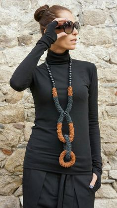 NEW Fall 2016 Extravagant Brown and Black Genuine Leather Necklace with beads . Extra Long One of a Kind Accessory Extraordinary,Ch… Fabric Necklace, Diy Necklace, Leather Necklace, Leather Jewelry, Textile Jewelry, Fabric Jewelry, Jewelry Art, Jewellery, Unusual Jewelry