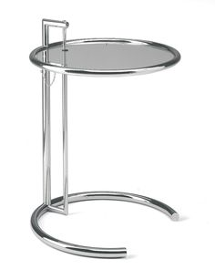 """Eileen Gray adjustable height cocktail table with tubular polished chrome frame and glass top. Welded and polished end caps. Original and modern arm available - Height: 24½""""-39½"""", Diameter: 20"""""""