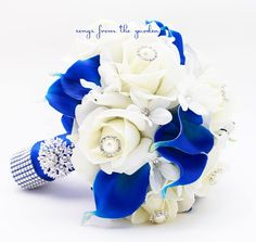 Reserved Royal Blue & White Bridal Bouquet Roses Calla Lilies Groom's Boutonniere - White Royal Wedding Bouquet Pearl Rhinestones