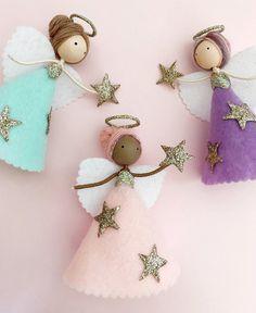 Fairy Crafts, Angel Crafts, Christmas Angel Ornaments, Christmas Crafts, Ciel Nocturne, Mermaid Toys, Mermaid Ornament, Pixie, Handmade Angels