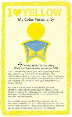 Wondering what your favorite color Yellow means? My Favorite Color is Yellow Meaning infographic has your answers. Meaning Of Colors, My Favorite Color, My Favorite Things, Favorite Color Meaning, Color Psychology, Psychology Meaning, Psychology Studies, Psychology Facts, Spirituality