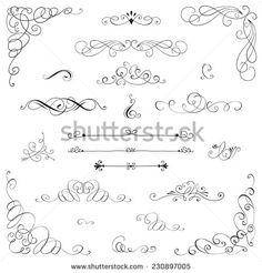 Set: Vintage vector frame, border, divider, corner. Retro elements collection. Page decor elements for calligraphy design