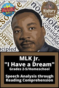 "Great for Black History Month or to learn more about Martin Luther King, Jr., this Boom Deck has slides with basic information leading up to his iconic ""I Have a Dream"" speech. Then students have the chance to test their knowledge and reading comprehension. A word search is included! #blackhistorymonth #MLK #MLKday #Ihaveadream #speechanalysis #reading comprehension #elementary #boomdeck #boomlearning #boomcards #digitallearning"