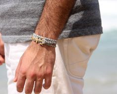 """Men's Bracelet - Men's Anchor Bracelet - Men's Gray Bracelet - Mens Jewelry - Bracelets For Men - Jewelry For Men  Looking for a gift for your man? You've found the perfect item for this!   The simple and beautiful bracelet combines gray fabric which wrap 3 times on hand and a gold plated anchor pendant.  Length: 20.8"""" (53 cm) + 2"""" (5 cm) extension chain.  Pendant Size: 3.5 cm $27"""