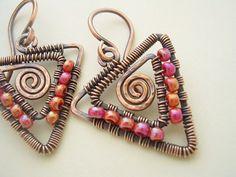 Arrowhead EarringsCopper Wire and Pink Glass by JulidasTrinkets, $36.00