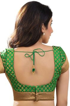 #Green & antique #gold festive wear banarasi brocade blouse with #lovely…