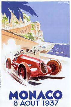 Geo Ham - 1937 monaco grand prix race - love this retro poster Posters Uk, Art Deco Posters, Poster Prints, Vintage Wood Signs, Pub Vintage, Vintage Racing, Vintage Labels, Unique Vintage, Old Poster