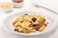Pappardelle aux tomates et à l'aubergine sur Wikibouffe