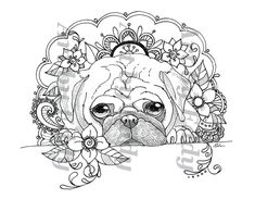 Art Of Pug Single Coloring Page