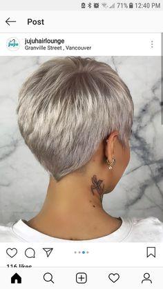 Kurzhaarschnitt: Pixie Love – Flash Fashion Tendance - New Site Short Hair Back, Super Short Hair, Short Grey Hair, Short Hair Cuts For Women, Pixie Cut Back, Short Pixie Haircuts, Short Haircut, Pixie Hairstyles, Short Hair Model